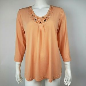SUSAN GRAVER Orange Jeweled Neck Top M